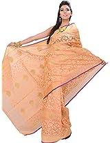 Exotic India Peach-Nougat Banarasi Kora Saree with Hand-woven Paisleys - Orange