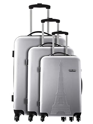Platinium 3er Set Trolley 4 Rollen Paris (Silber)