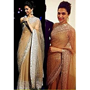 Deepika Padukone Beige Designer Saree