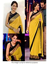 Madhuri Jhalak Liril Bollywood Replica Saree Yellow