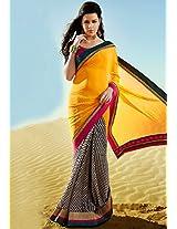 Yellow Printed Saree Inddus
