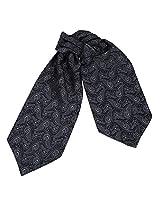 ERA1B08B Dim Grey Paisley Romance Fabric Ascot for Mens Woven Microfiber Cravat Anniversary Presents By Epoint