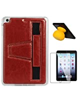 DMG Premium TPU Skin with PU Leather Hand Holder Cover Case For Apple iPad Mini / Mini 2 / Mini 3 (Red) + Bluetooth Suction Stand Speakers + Matte Screen