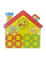 Wooden Clock Puzzle Digital and Analogue- House - 29 cm X 28cm