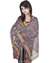 Exotic India Monument-Blue Stole with Digital-Printed Flowers - Blue