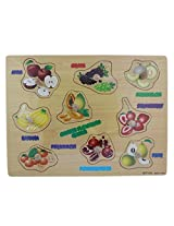 SHopperz Wooden 9 Pieces Fruit Puzzle Picture Board With Knobs - (1c245) - Learning Educational Math Toys for kids 18M+
