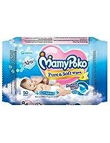 Mamy Poko Pure and Soft No Fragnance Wipes (Dark Blue, 50 Sheets) Mamy Poko