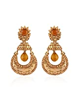I Jewels Traditional Gold Plated Chand Jhumki Shaped Earrings for Women E2231FL (LCT/Gold)