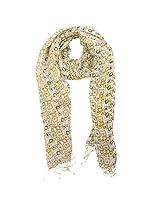 FUGEN Women's Linen Scarf (FF-2038, Yellow & Black)