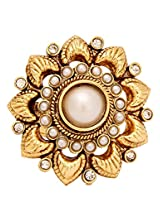 FIDA Gold Flower Ring with Pearls & Pave Diamonds (Adjustable)