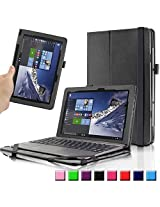 """ASUS Transformer Book T100HA Case, Infiland Premium PU Leather Keyboard Portfolio Stand Cover Case For ASUS Transformer Book T100HA 10.1"""" Laptop (2015 New Released Only)- Black"""