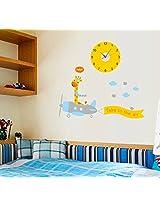 UberLyfe Flying Giraffe Wall Clock cum Wall Sticker