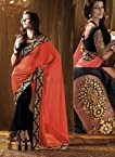 Beautiful Bollywood Style Saree With Heavy Fancy Blouse With Work On Neckline With Contrast Designer Style Pallu