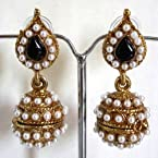Black leaf pearl jhumki earrings