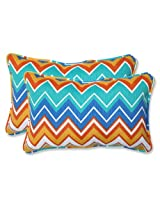 Pillow Perfect Outdoor Zig Zag Rectangular Throw Pillow, Orangeade, Set of 2