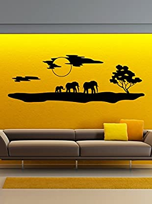 Ambiance Live Wandtattoo African silhouette with elephants schwarz