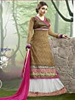 VandV-New Stylish Soha Ali Khan Saddle Brown Floor Length Anarkali Suit