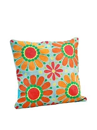 Modelli Creations Sunflower Crewel Work Pillow, Blue