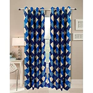 Homefab India's Checks Blue Curtain