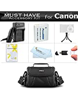 Must Have Accessory Bundle Kit For Canon PowerShot SX170 IS Digital Camera Includes Extended Replacement (1200 maH) NB-6L Battery + Ac/Dc Travel Charger + USB 2.0 Card Reader + Deluxe Case + Mini Tabletop Tripod + Screen Protectors + More