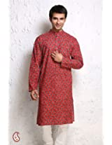 Vermilion Red And Green Block Printed Cotton Kurta GTK1349 - For Men