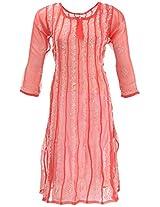 Lucknow Chikan Industry Women's Georgette A- Line Kurta (LCI-439, Red, L)