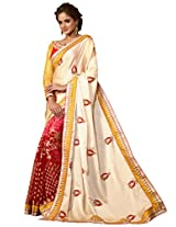 Inddus Women Gold & Red Bridal Saree