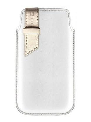 Blautel iPhone Funda 4-Ok StriP Blanco/Beige
