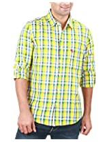 REIGN OF FASHION Men's Casual Shirt (500028, Yellowish Checks, 3X-Large)