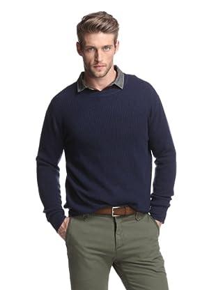 Kokun Men's Waffle Pullover Sweater (Navy)