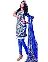 Anvi Creations Blue Spun Cotton Dress Meterial (Blue _Free Size)
