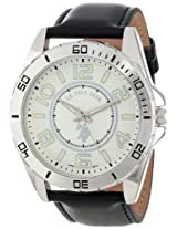 U.S. Polo Assn. Classic Men's USC50008 Analogue Silver Dial Leather Strap Watch
