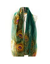 100x150cm Green/White Peacock Feather Printed Polyester Chiffon Fabrics for Curtain Scarf Clothes DIY Craft Tissue Tela Tecidos