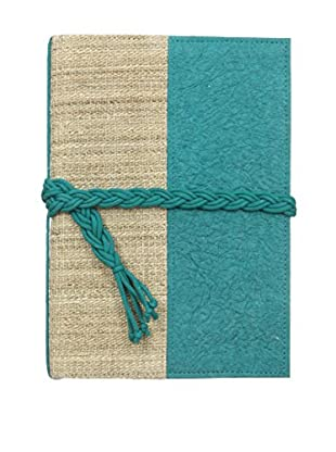 Marina Vaptzarov Small Vegetal Leather & Nettle Fabric Sketchbook, Teal