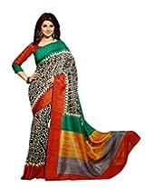 Brijraj Jennifer Winget, White Black Multi Bhagalpuri silk Beautifull Printed Saree Wih Unstitch Blouse