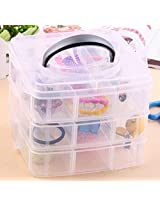 1 Pc. Transparent Multi Utility Storage Box with 3 Removable Layers and 18 Removable Dividers/Compartments for Jewelry, Nail Art, Make Up, Cosmetics, etc. - Color: White