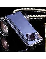 Kapa Semi transparent Mirror View Clear Flip Case Cover For Samsung Galaxy A7 - Blue