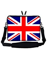 Meffort Inc 15 15.6 inch Laptop Sleeve Bag Carrying Case with Hidden Handle and Adjustable Shoulder Strap - England Flag Design