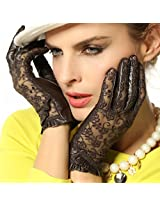 WARMEN Gothic Medival Lolita Ladies Genuine Nappa Leather&Lace Unlined Gloves (L, Brown)