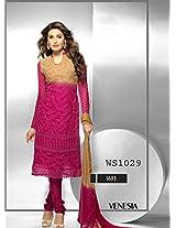 Thankar Latest Embroidered Designer Cream And Dark Pink Anarkali Suits