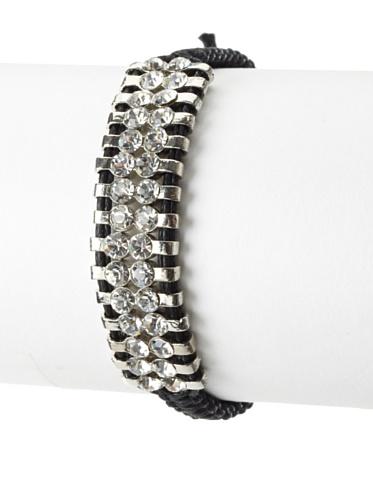 Shashi Two Row Original Adjustable Bracelet, White Gold/Black