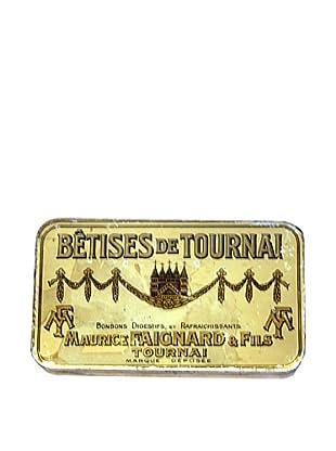 Vintage Betises de Tournai-Maurice Faignard & Fils Tin, Gold/Cream