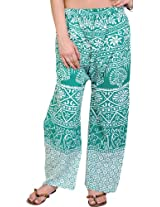 Exotic India Casual Trousers from Pilkhuwa with Printed Palm Trees - Color UltramarineGarment Size Free Size