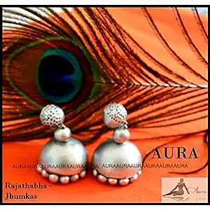 AUrA-EArTH Rajathabha Jhumkas