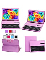 SUPERNIGHT Bluetooth Keyboard Case Cover for Samsung Galaxy Tab 4 10.1 & Tab 3 10.1 Tablet - Purple