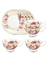 Gracie Bone China 8-Ounce Tea Cup and Saucer, Pink Peony Strawberry, Set of 4