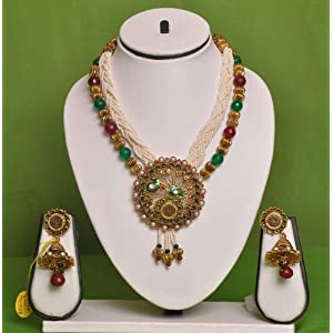 Beautiful white golden necklace by swarajshop