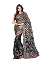 Sangam Black Pallu Patli Fancy Saree