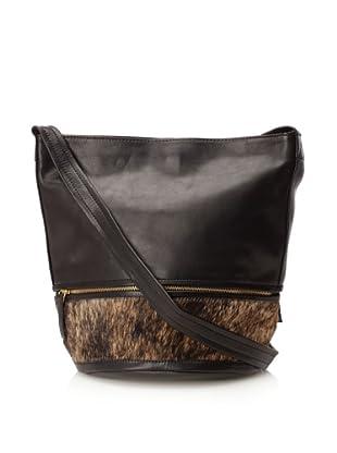 Hare + Hart Women's Haircalf Small Bucket Bag (Black/Brindle)