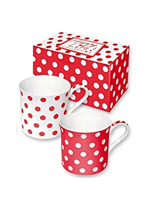 Easy Life Design Set 2 Mug in Porcellana Bone China Happy Pois (Rosso)